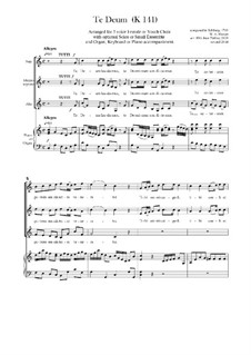 Te Deum in C Major, K.141: For SSA and keyboard by Wolfgang Amadeus Mozart