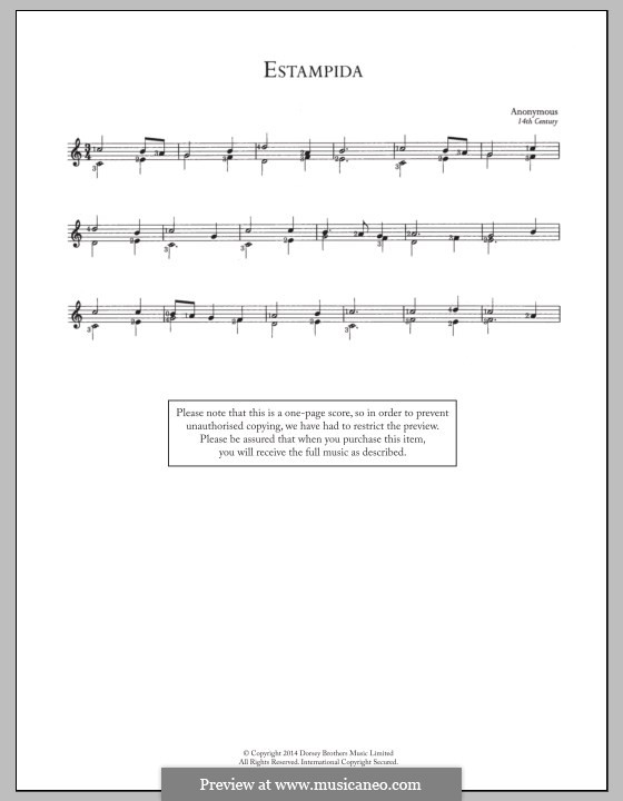 Estampida: For guitar with tab by Unknown (works before 1850)
