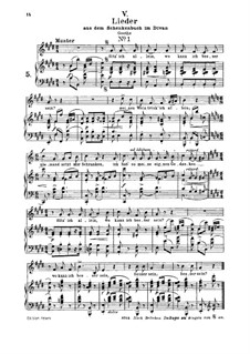 No.5 Sitz' ich allein (Chansons à boire): For medium voice and piano by Robert Schumann