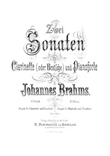 Sonatas for Clarinet (or Viola) and Piano, Op.120: Complete set by Johannes Brahms