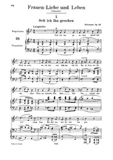 Woman's Love and Life, Op.42: No.1 Since Mine Eyes Beheld Him, for medium voice and piano by Robert Schumann