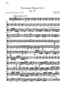 Four Norwegian Dances, Op.35: Dance No.1, for quartet - viola part by Edvard Grieg
