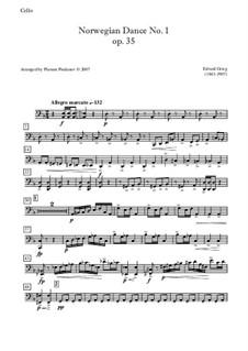 Four Norwegian Dances, Op.35: Dance No.1, for quartet - cello part by Edvard Grieg