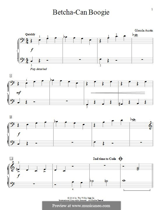 Betcha-Can Boogie: For piano by Glenda Austin