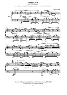 Dein eigen (Thine Own), Op.54: For a single performer by Gustav Lange