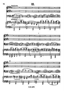 Piano Quartet No.3 in C Minor, Op.60: Movement III by Johannes Brahms