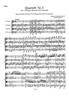 String Quartet No.3 in B Flat Major, Op.67: Full score by Johannes Brahms