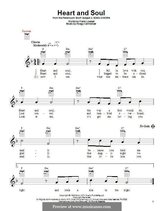 Heart and Soul: For ukulele by Hoagy Carmichael