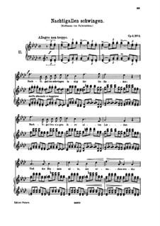 Six Songs, Op.6: No.6 Nachtigallen schwingen (Nightingales Swing Happily) by Johannes Brahms