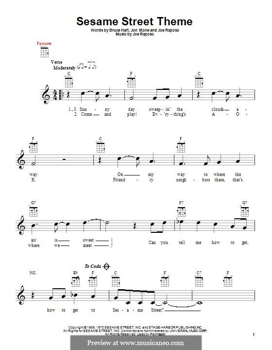 Sesame Street Theme: For ukulele by Joe Raposo