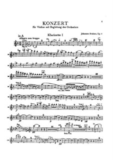 Concerto for Violin and Orchestra in D Major, Op.77: Clarinet I part by Johannes Brahms