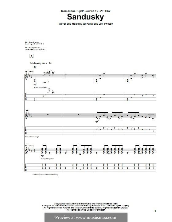 Sandusky (Uncle Tupelo): For guitar with tab by Jay Farrar, Jeff Tweedy