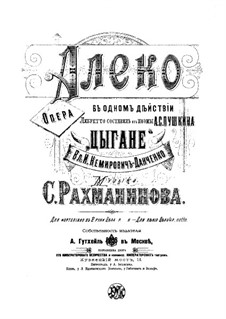 Aleko: Piano-vocal score by Sergei Rachmaninoff
