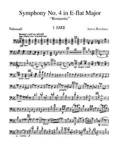 Symphony No.4 in E Flat Major 'Romantic', WAB 104: Cello part by Anton Bruckner