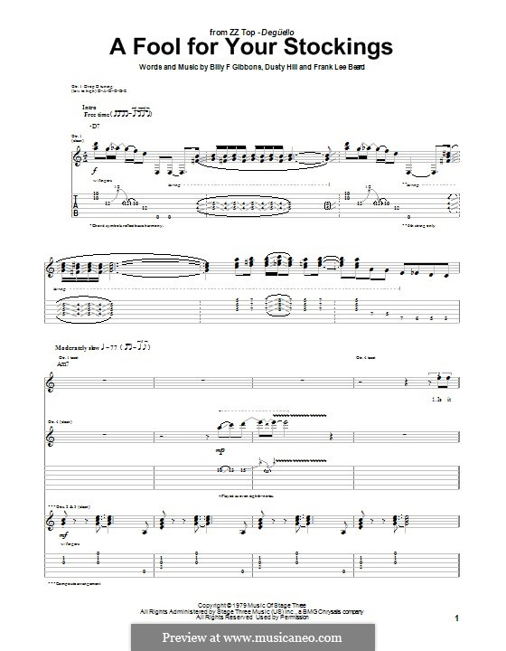 A Fool for Your Stockings (ZZ Top): For guitar with tab by Billy F Gibbons, Dusty Hill, Frank Lee Beard