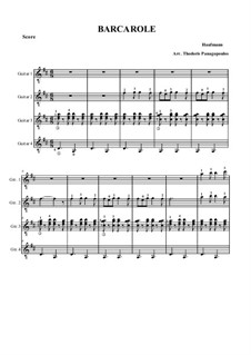 Barcarole: For four guitars by Jacques Offenbach