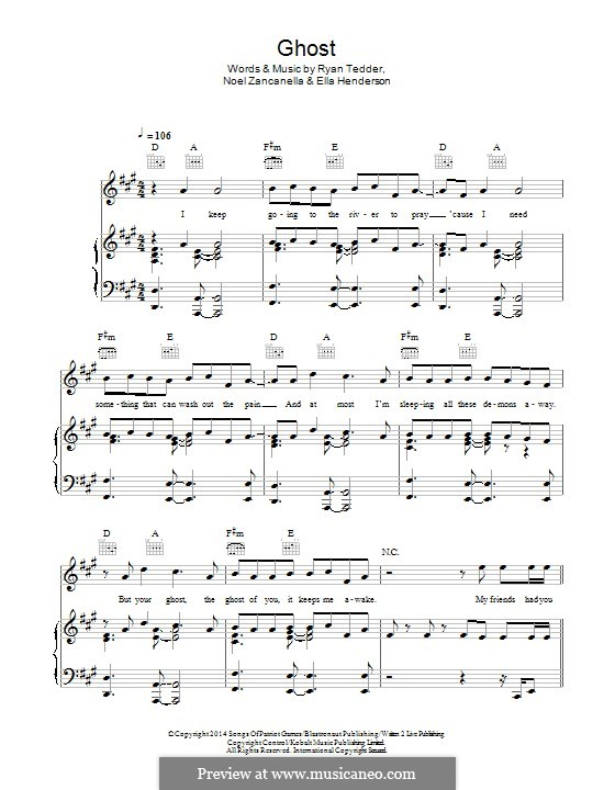 Ghost: For voice and piano (or guitar) by Noel Zancanella, Ryan B Tedder, Ella Henderson
