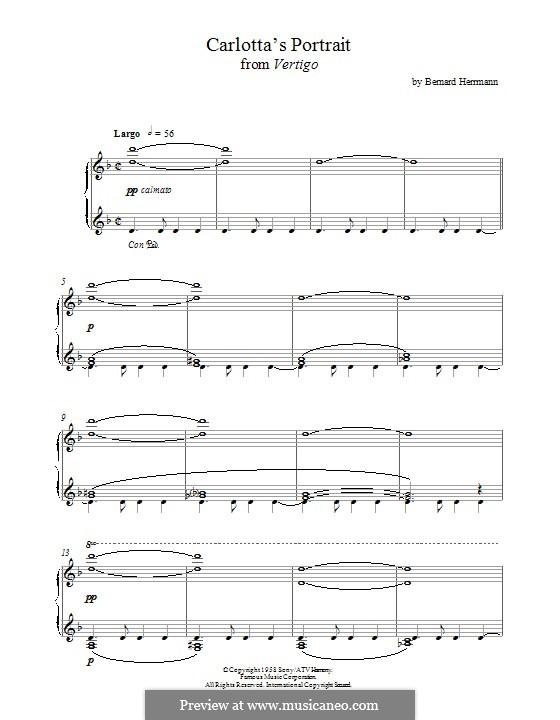Carlotta's Portrait from Vertigo: For piano by Bernard Herrmann