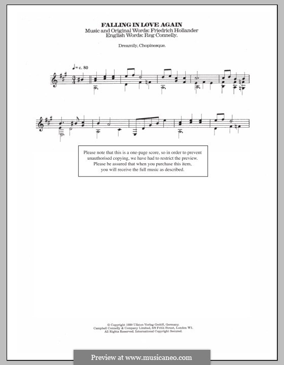 Falling in Love Again (Can't Help It): For guitar with tab by Friedrich Holländer