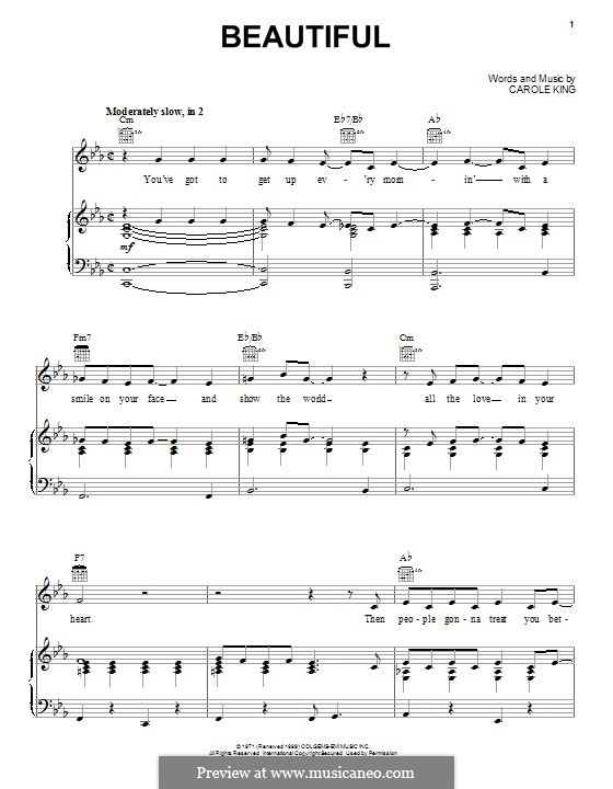 Beautiful: For voice and piano (or guitar) by Carole King