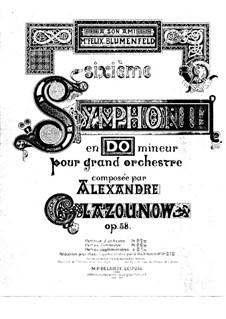 Symphony No.6 in C Minor, Op.58: Arrangement for piano four hands by Alexander Glazunov