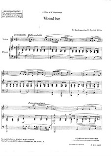 Vocalise, Op.34 No.14: For voice and piano by Sergei Rachmaninoff