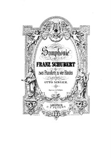 Symphony No.8 in B Minor 'Unfinished', D.759: Arrangement for piano four hands by Franz Schubert