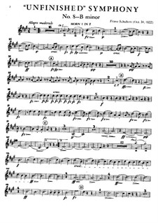 Symphony No.8 in B Minor 'Unfinished', D.759: Horn I in F part by Franz Schubert