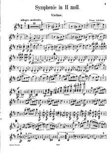 Symphony No.8 in B Minor 'Unfinished', D.759: Arrangement for violin and piano – solo part by Franz Schubert