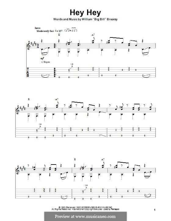 Hey Hey: For guitar with tab by Big Bill Broonzy