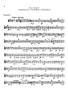 Symphony No.8 in B Minor 'Unfinished', D.759: Trombones parts by Franz Schubert