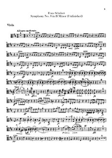 Symphony No.8 in B Minor 'Unfinished', D.759: Viola part by Franz Schubert
