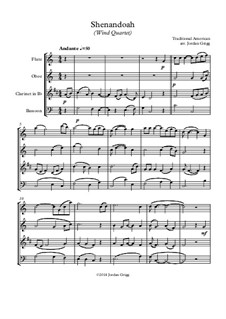 Shenandoah: For wind quartet by folklore