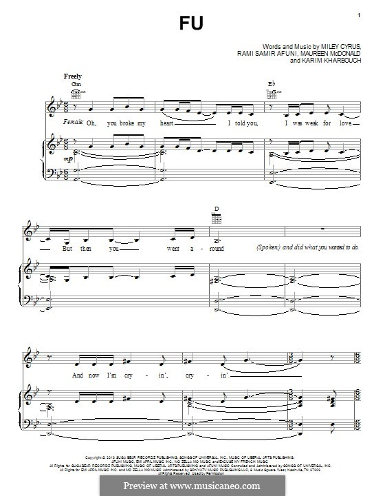 FU: For voice and piano (or guitar) by Miley Ray Cyrus, Maureen McDonald, Karim Kharbouch, Rami Samir Afuni