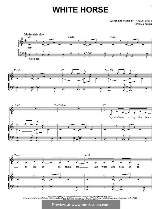 White Horse (Taylor Swift): For voice and piano by Liz Rose