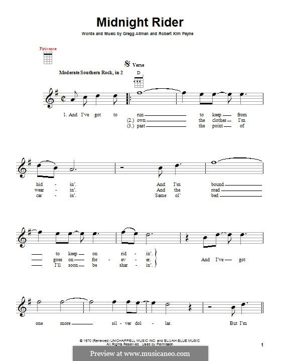 Midnight Rider (The Allman Brothers Band): For ukulele by Gregg Allman, Robert Kim Payne
