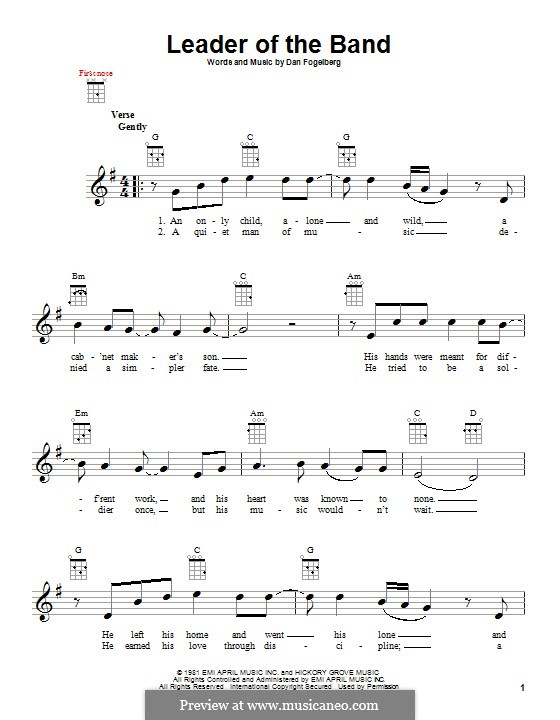 Leader of the Band by D. Fogelberg - sheet music on MusicaNeo