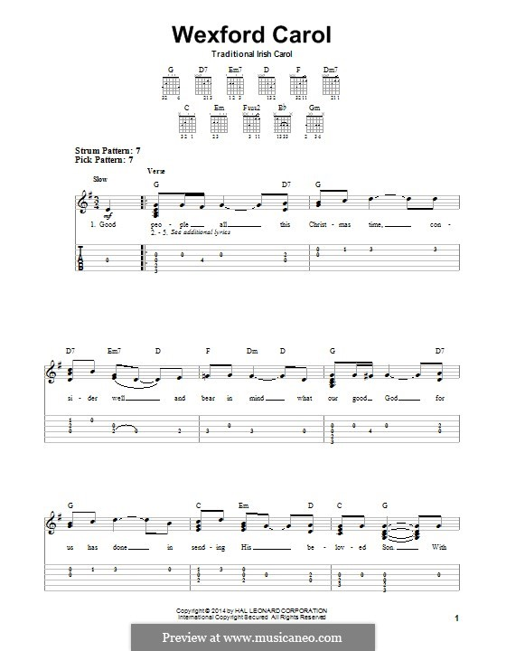 Wexford Carol: For guitar with tab by folklore
