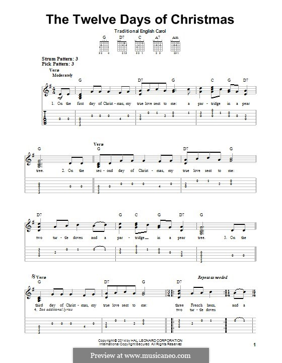 The Twelve Days of Christmas: For guitar with tab by folklore