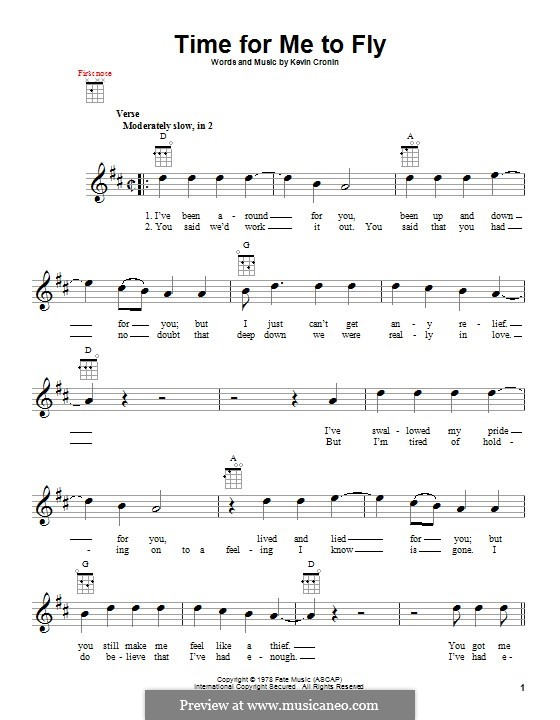 Time for Me to Fly (REO Speedwagon): For ukulele by Kevin Cronin