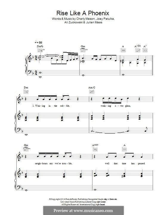 Rise Like a Phoenix (Conchita Wurst): For voice and piano (or guitar) by Charlie Mason, Alexander Zuckowski, Joey Patulka, Julian Maas