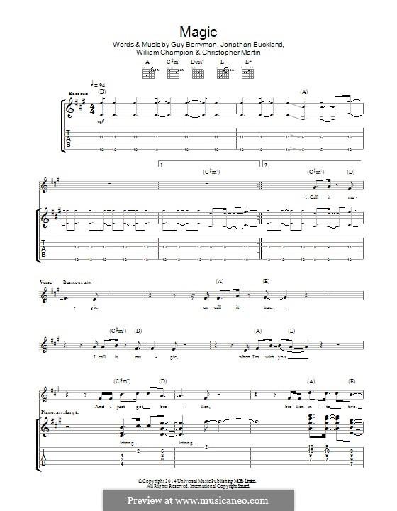 Magic Coldplay By C Martin G Berryman J Buckland W Champion