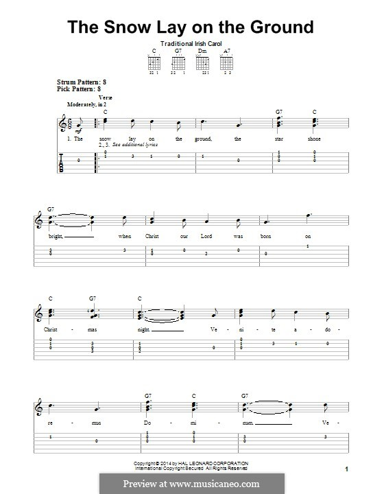The Snow Lay on the Ground: For guitar with tab by folklore