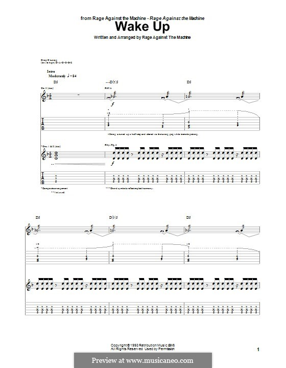Wake Up by Rage Against The Machine - sheet music on MusicaNeo