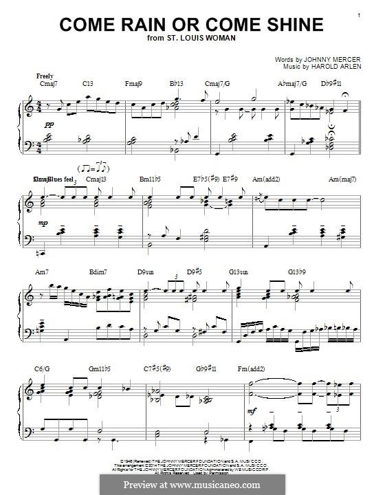 Come Rain or Come Shine: For piano by Harold Arlen