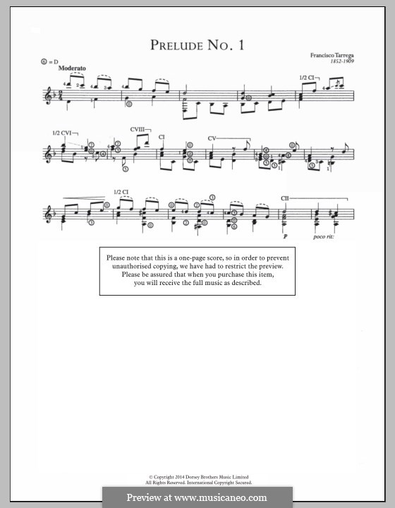 Preludes: Prelude No.1  by Francisco Tárrega