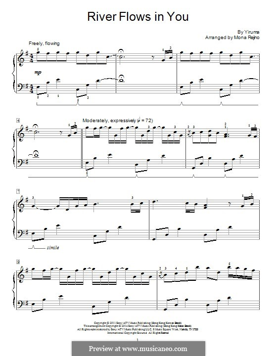 River Flows in You: For piano by Yiruma