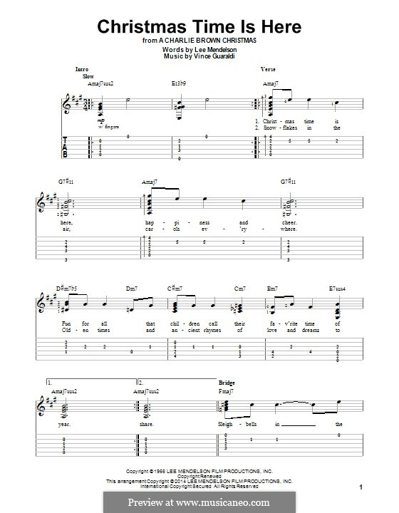 Christmas Time Is Here Chords.For Guitar With Tab A Major