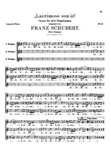 Lacrimoso son io, D.131: First version by Franz Schubert