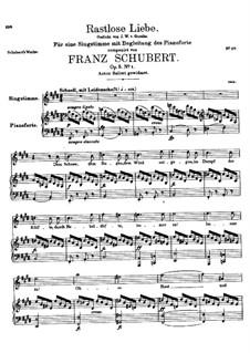 Rastlose Liebe (Restless Love), D.138 Op.5 No.1: Piano-vocal score by Franz Schubert
